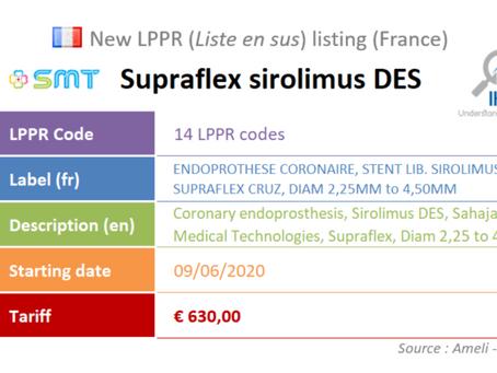 France: New device on the liste en sus: SMT Supraflex Sirolimus DES