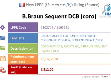 France: New Listing on the liste en sus [V]: B.Braun Coronary Sequent Drug Coated Balloon (DCB)