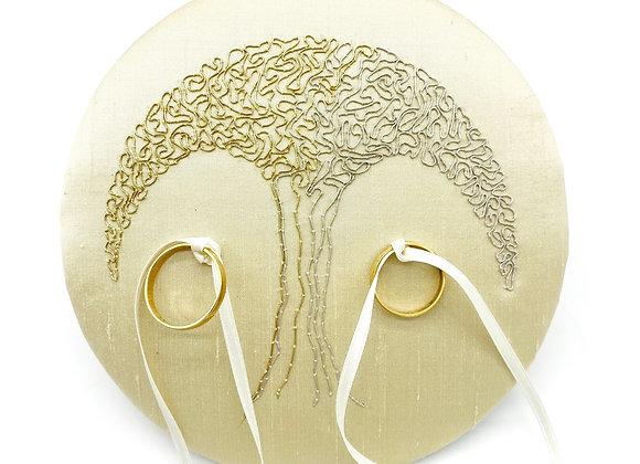 "Ringpolster ""Hochzeitsbaum BeColor"" Gold & Silber"