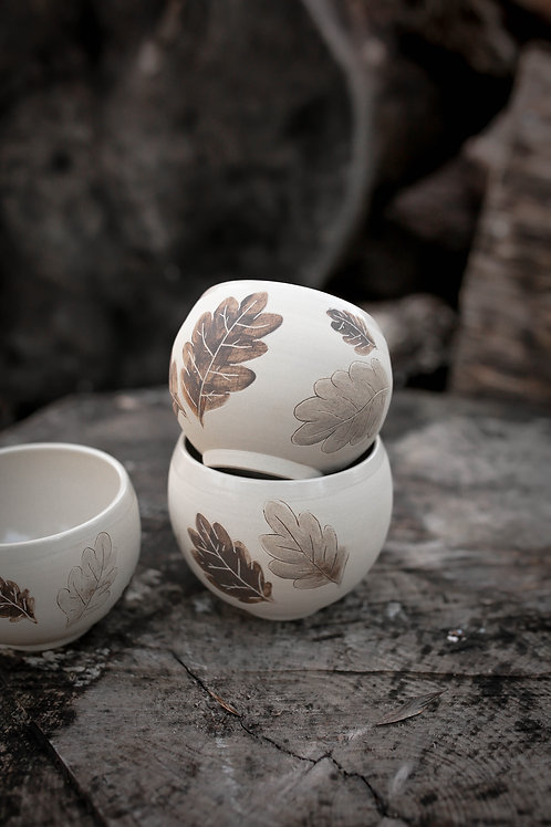 3 bols motif feuilles de chêne
