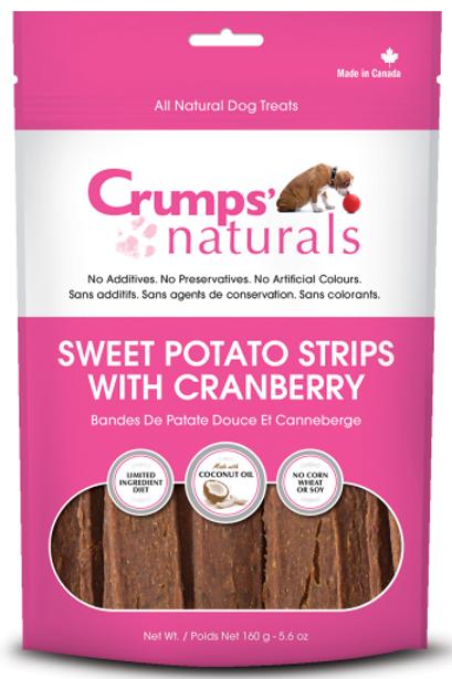 Crumps' Naturals Dog Sweet Potato Strips w/Cranberry 5.6 oz