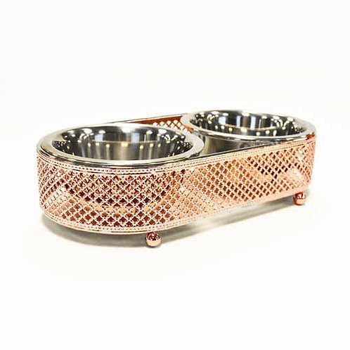 ROSE GOLD SMALL DOG 1PINT FEEDER