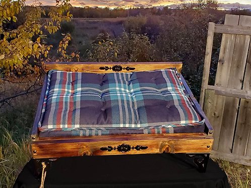 Small Dark Stain Rustic Bed