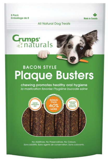 """Crumps' Naturals Dog Plaque Busters with Bacon 4.5"""" 8 pk 8 pk"""