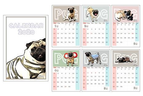 pug, パグ, ぱぐ, PUG, pugs, カレンダー, goods, グッズ, アイテム, 犬, dog, かわいい, 卓上カレンダー, 商品,
