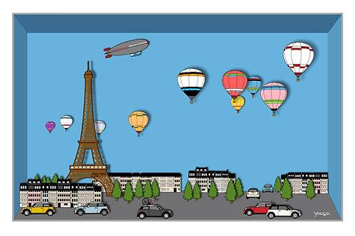 BMW MINI A4 アートイラスト ポスター Paris