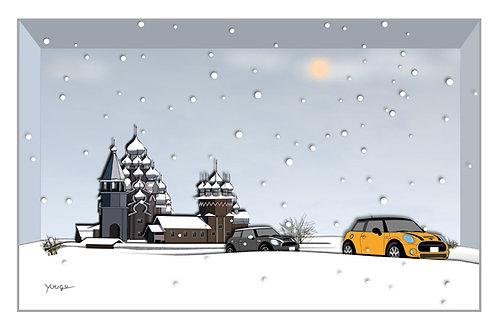 BMW MINI A4 アートイラスト ポスター Kizhi Pogost