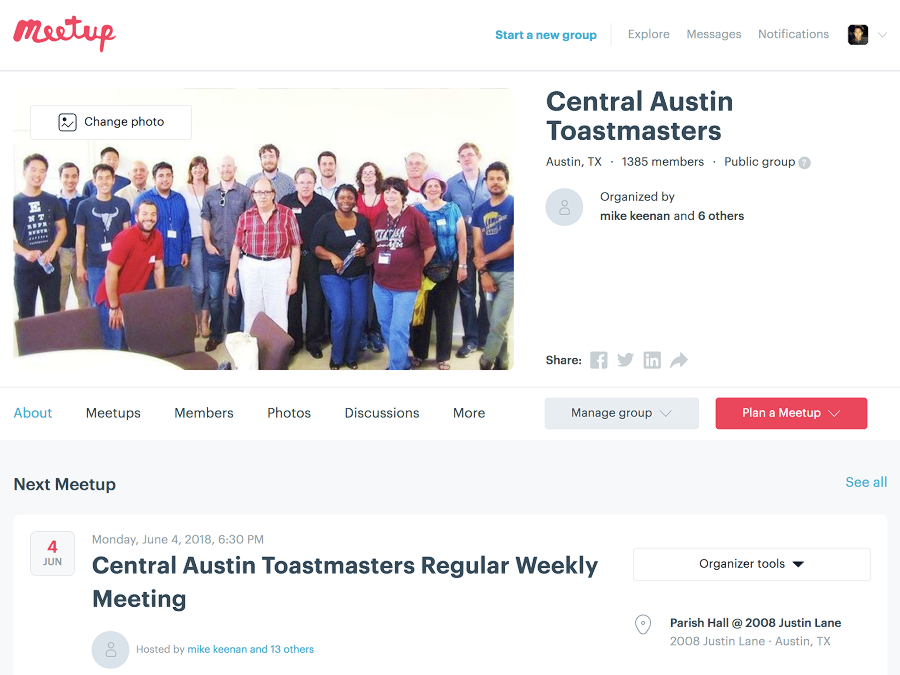 Central Austin Toastmasters is one of the few clubs that provide a successful Meetup group.
