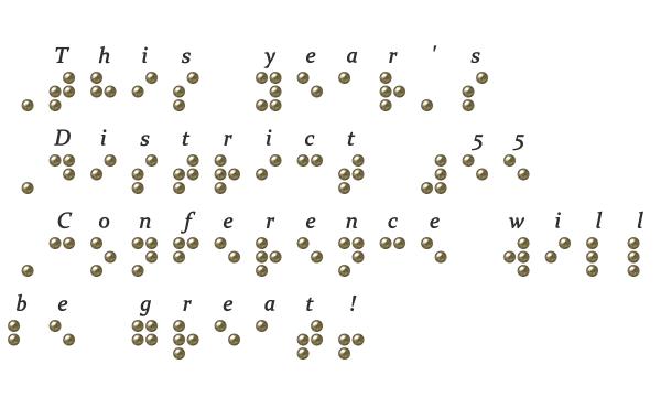 Figure 2. A sentence written in Grade 1 braille.