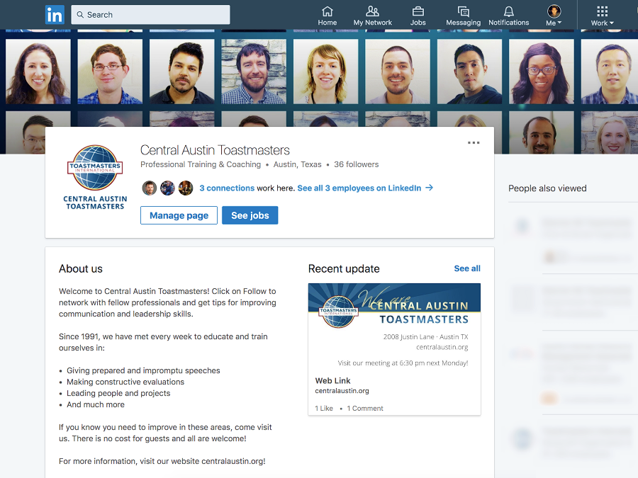 Central Austin Toastmasters is one of the few clubs that provide a LinkedIn community for working professionals.