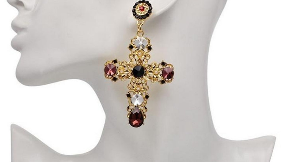 Ruby Vintage Cross Earrings