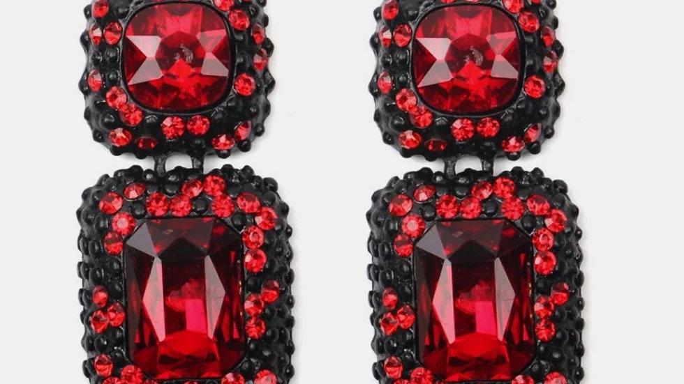 Red Jeweled Earrings