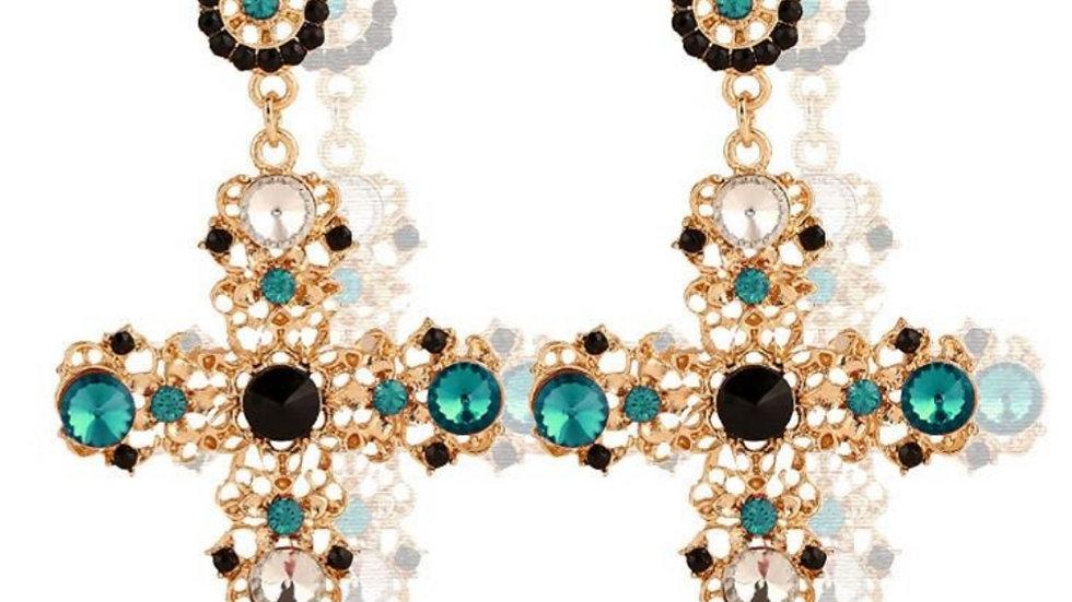 Turquoise Vintage Cross Earrings