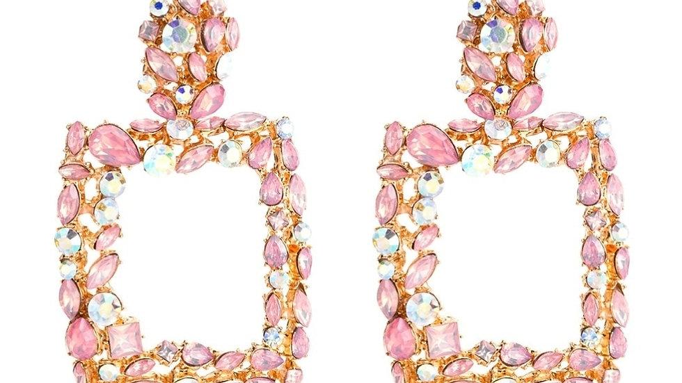 Pink Jeweled Earrings