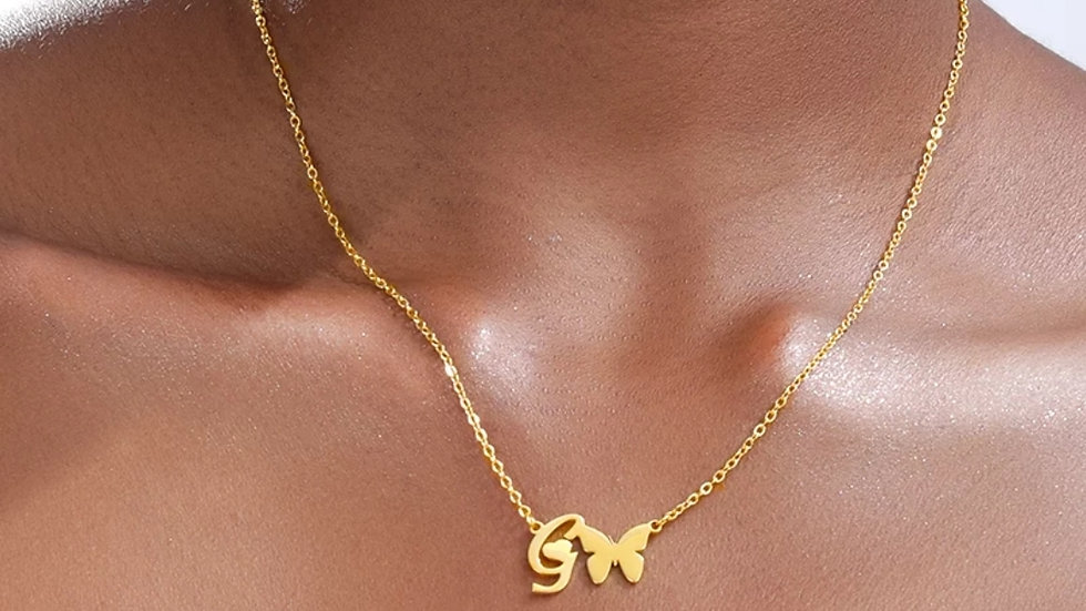 Initial Butterfly Necklace