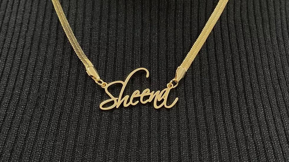 Herringbone Nameplate Necklace