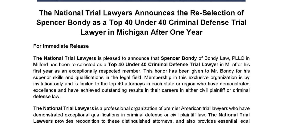 Spencer M. Bondy selected again as a Top 40 under 40 Criminal Defense Attorney in Michigan for 2021!