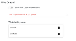 Web Lock Settings