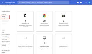 Google Admin Console > Devices > Chrome management