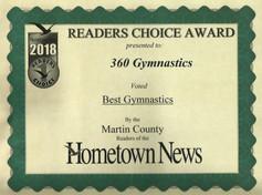 2018 Hometown News Best Gymnastics - Martin County