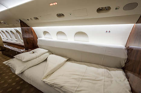 Cat Aviation Falcon 7X JST sleeping facility
