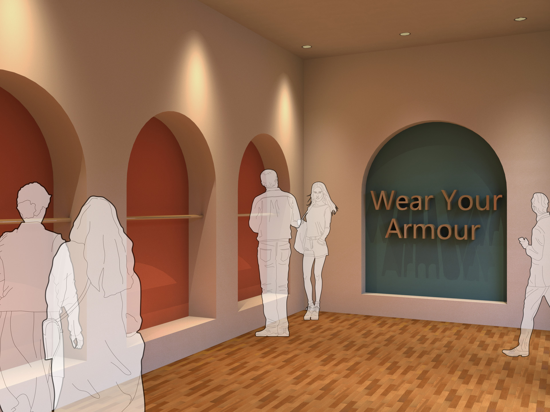 The clothing section takes the least amount of space, but invites customers to complete their jewellery purchases with an accompanies new outfit.