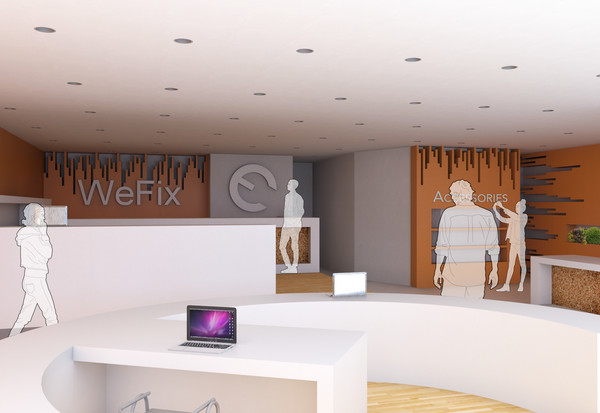 The WeFix branding is found throughout the space to continue reinforcing the companies profile. Cherry wood slat cladding is used to create a natural movement to direct customers subconsciously; Openings in the wood slat cladding acts as frame for the foliage, which brings colour and life to the neutral palette used throughout. Using minimal materiality throughout the space to avoid cluttering the atmosphere and further highlighting the primary service - the recharge station.