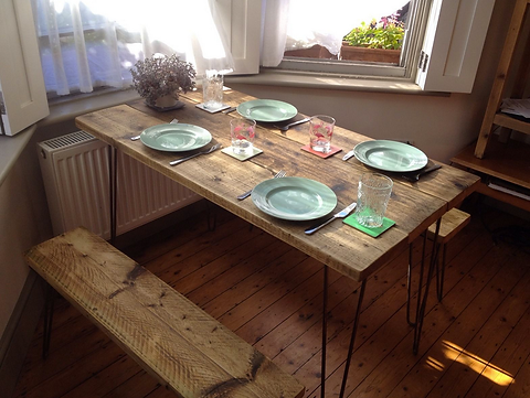 Kitchen Dining Table With 2 G Hairpin Legs