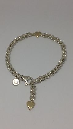 Sølvarmbånd med 2 gullhjerter