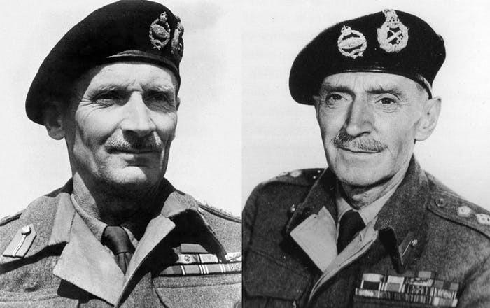 Left: Field Marshal Bernard Montgomery.  Right: Lieutenant M. E. Clifton James.