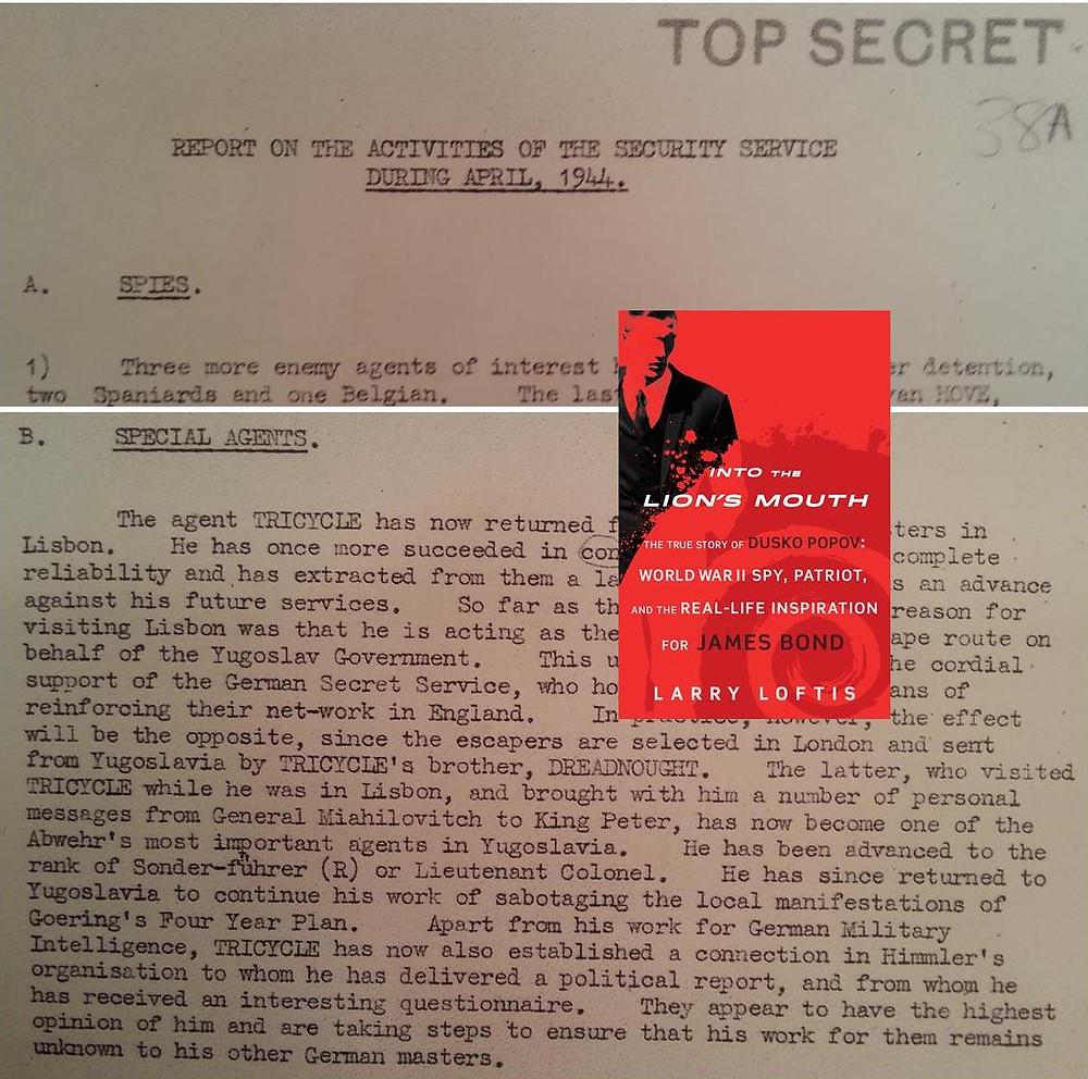 MI5's April 1944 intelligence report to Winston Churchill.