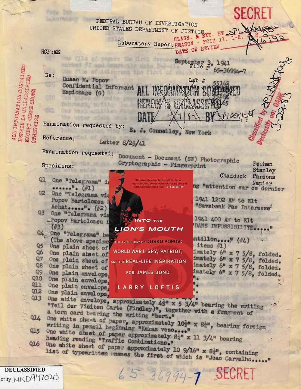FBI lab report of September 3, 1941.