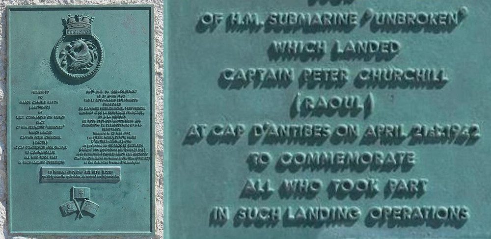 A close-up of the Antibes plaque honoring Churchill and the HMS Unbroken.