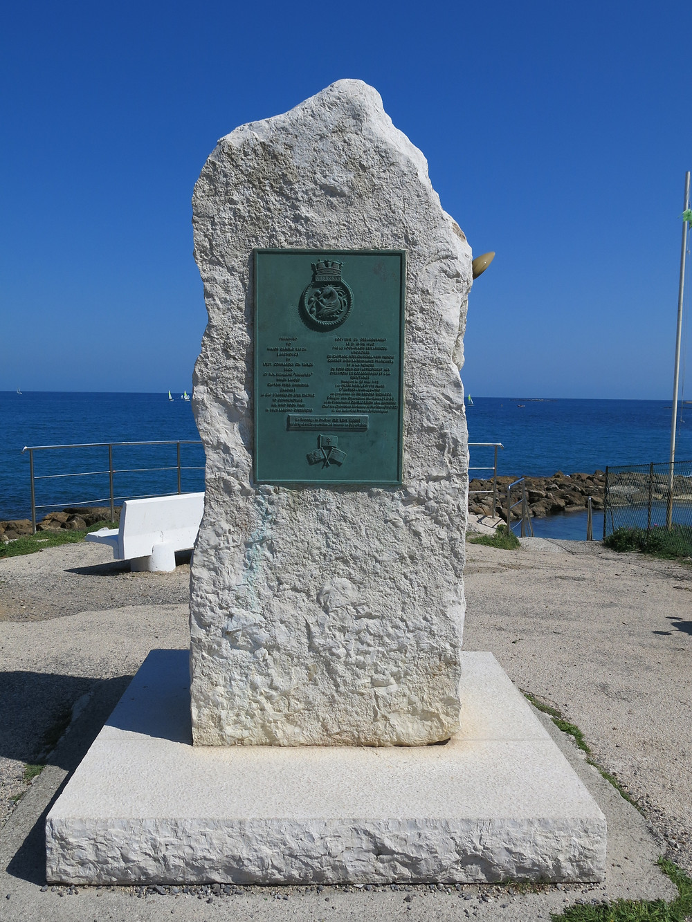 Monument at Antibes, France, recognizing Peter Churchill and HMS Unbroken for the April 21, 1942 landing and delivery of agents.