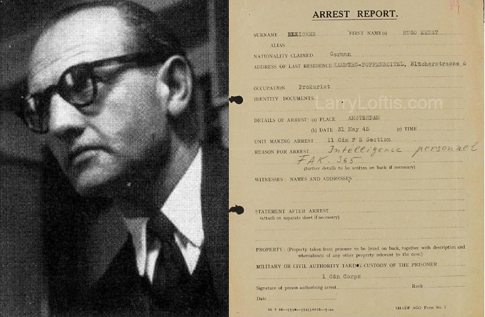 Hugo Bleicher and his arrest report, May 31, 1945.