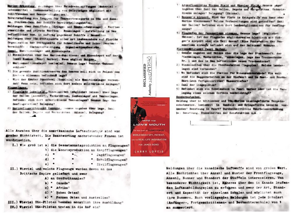 The four microdots (in German) containing Dusko Popov's questionnaire, given to the FBI on August 19, 1941, and included in the FBI lab report of September 3, 1941.