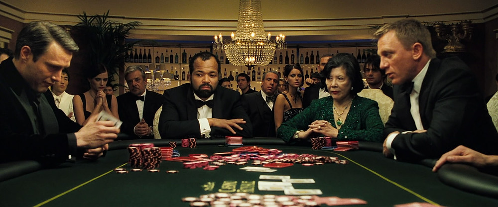 In Ian Fleming's first Bond novel, Casino Royale, the game was baccarat.  In the 2006 film adaptation, the game was changed to Texas Hold 'em.