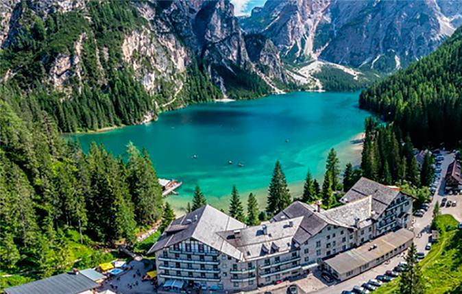 The Hotel Pragser-Wildsee, overlooking the Lago di Brais.