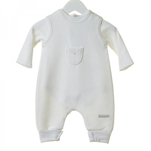 BLUES BABY WHITE TWO PIECE DUNGAREE & BODYSUIT SET