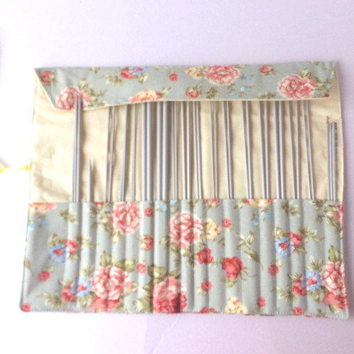 Knitting Needle Roll Needle Storage Blue Floral With Yellow Lining