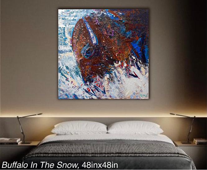 Kira Fercho Original oil painting Buffalo in the Snow