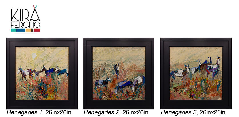 Kira Fercho Original oil painting Renegades 1,2 and 3