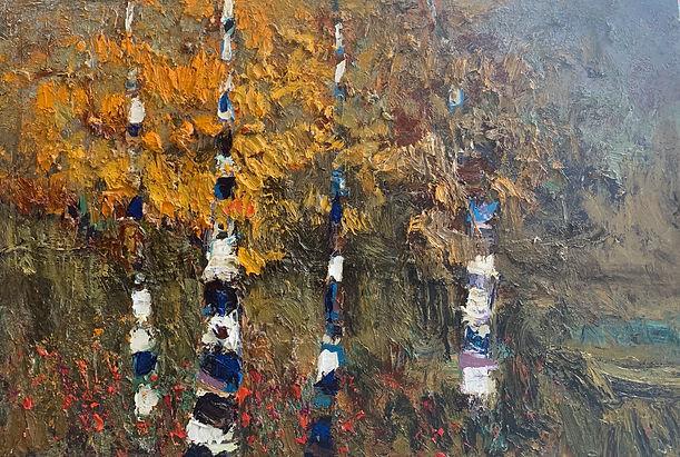 Kira Fercho Original Oil on Canvas_Aspens in the meadow