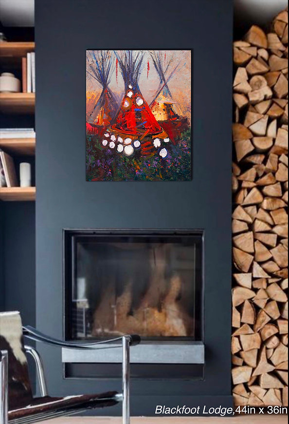 Original oil painting by Kira Fercho, Blackfoot Lodge