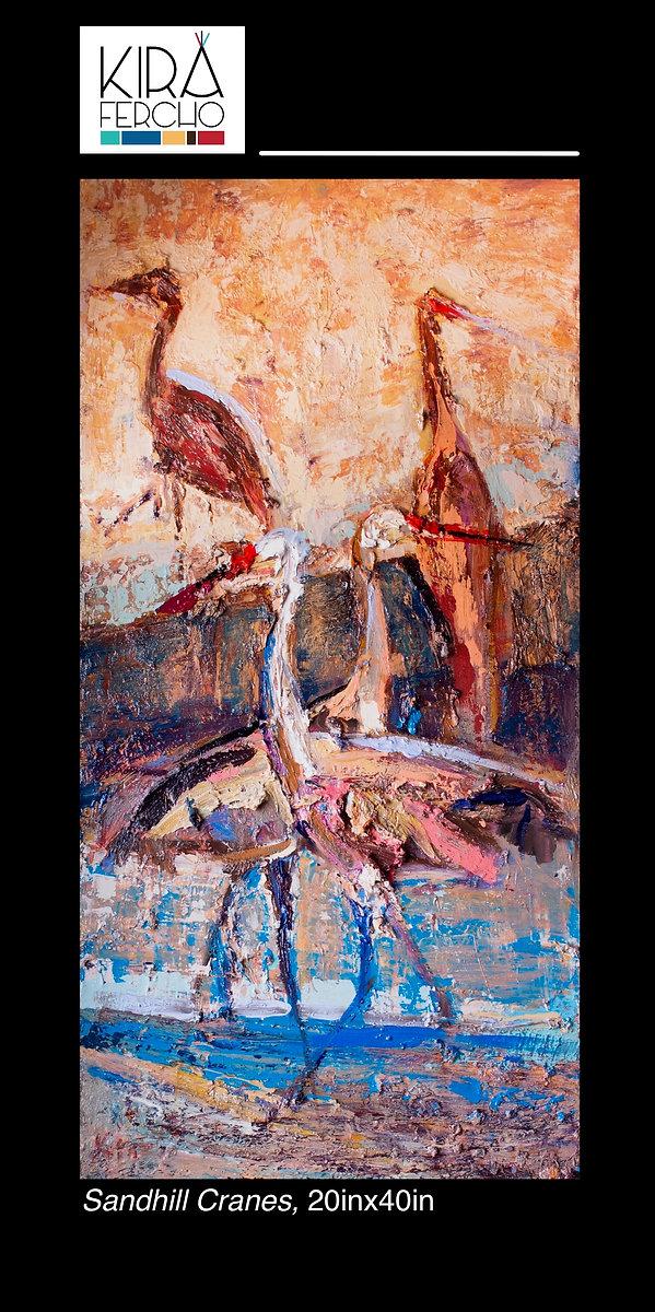 Sandhill Cranes, Original oil painting by Kira Fercho