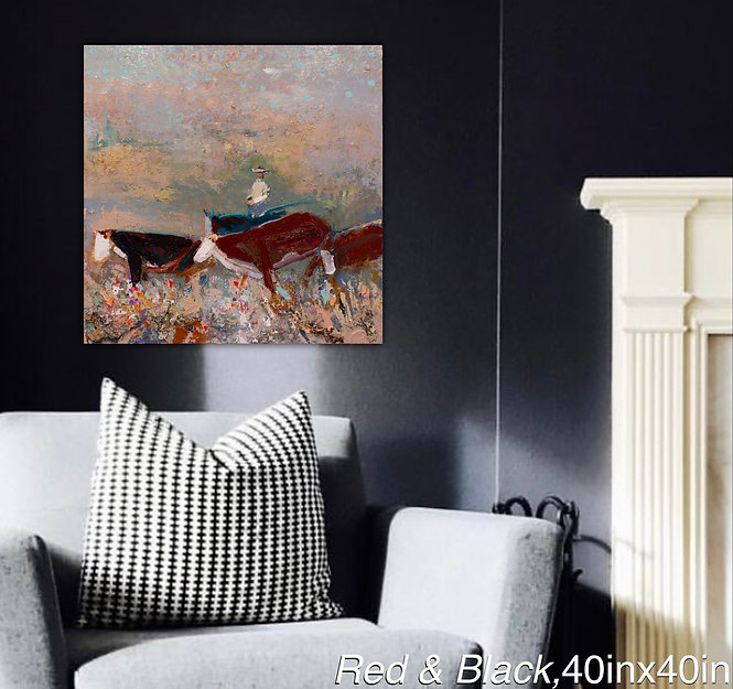 Kira Fercho original oil painting, Red and Black