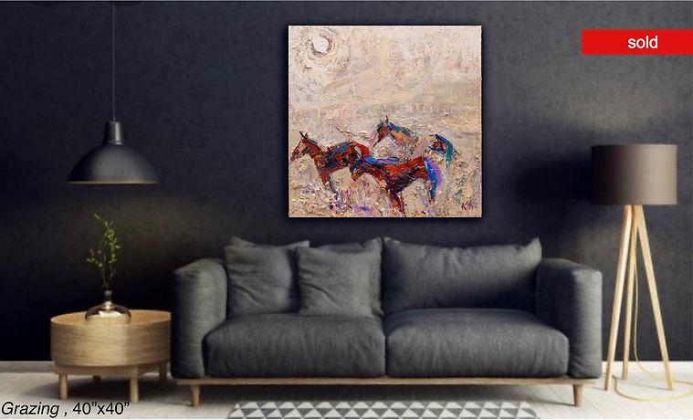 Grazing, an original oil painting by Kira Fercho