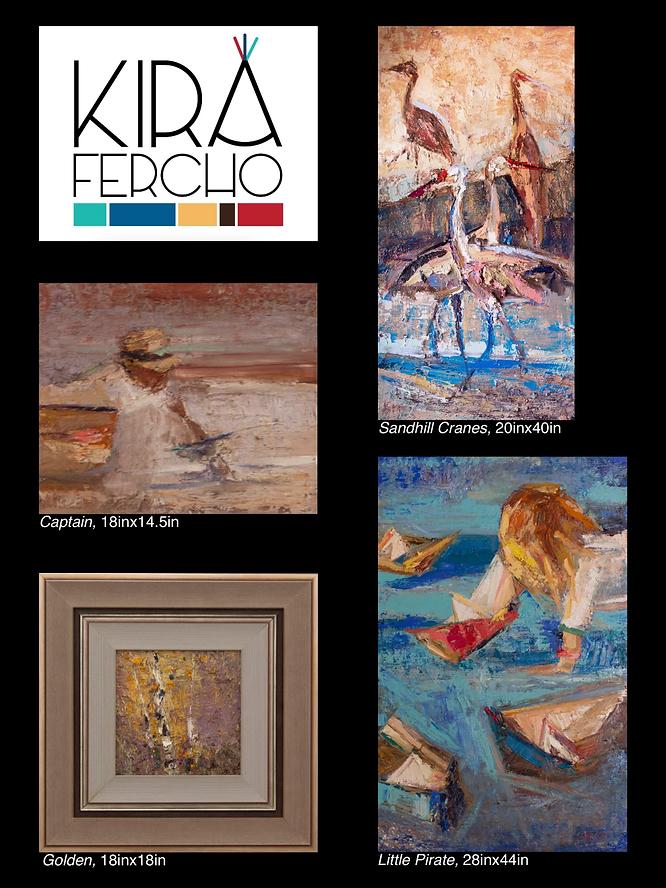 Kira Fercho original oil paintings, Sandhill Cranes, Captain, Golden and Little Pirate