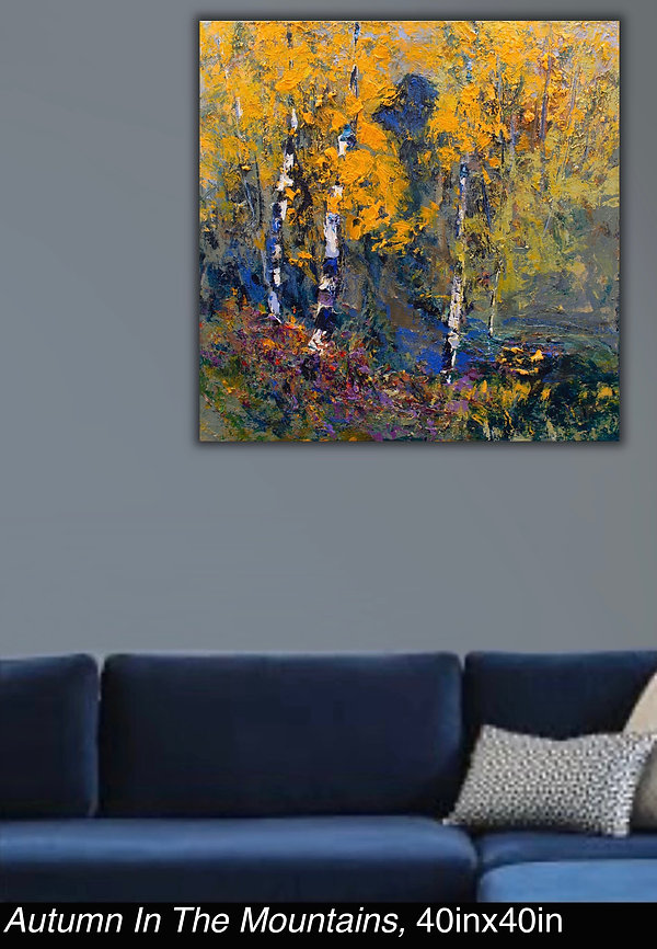 Autumn in the Mountains, Original oil painting by Kira Fercho