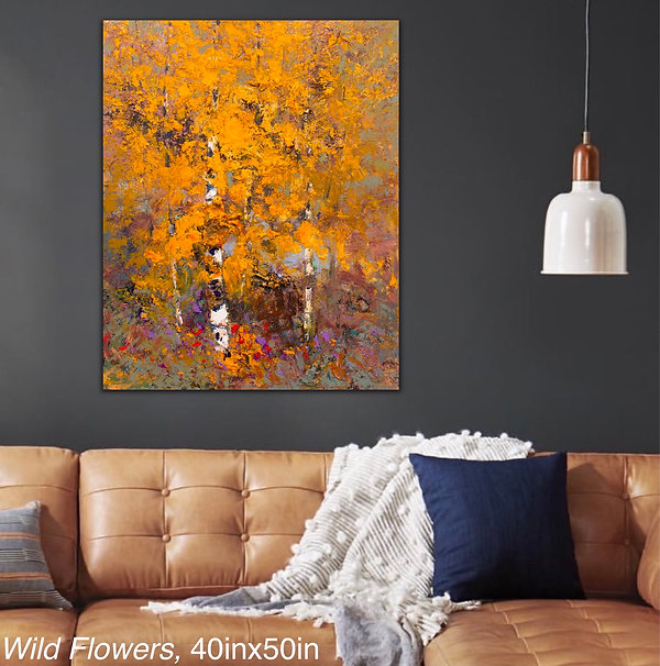 Kira Fercho original oil painting, Wild Flowers